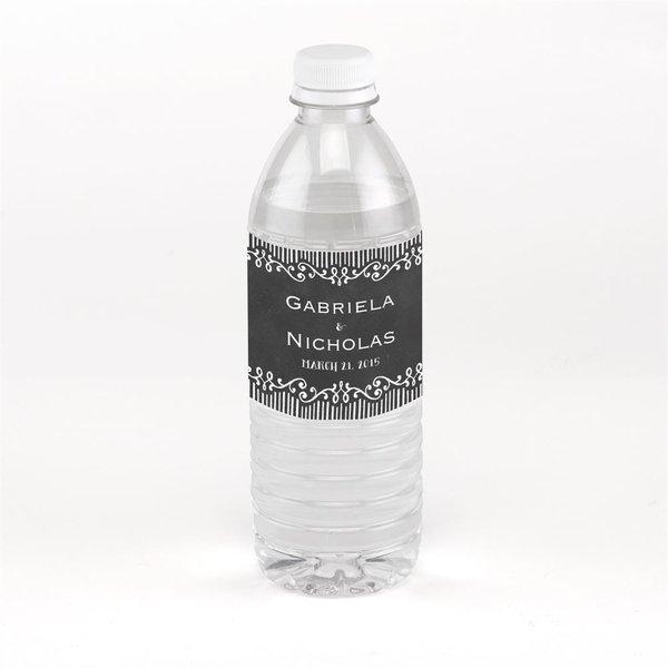 Chalkboard Sketch Water Bottle Label