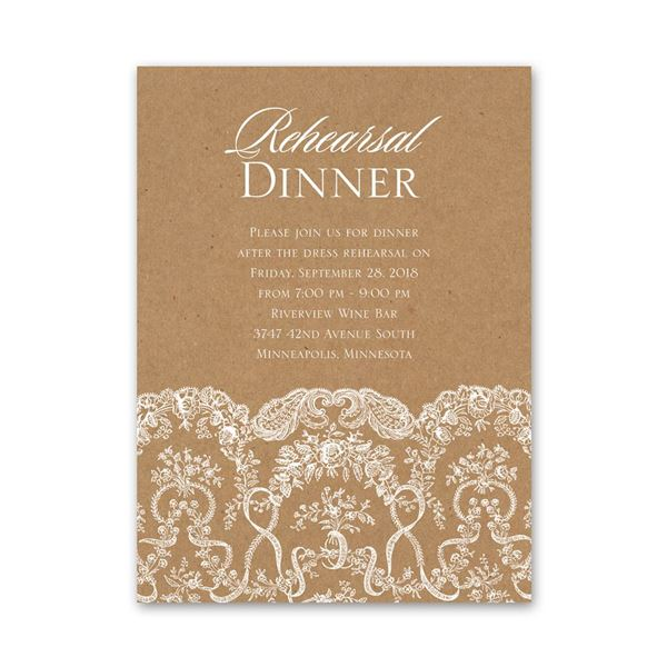 Lace on Kraft Petite Rehearsal Dinner Invitation