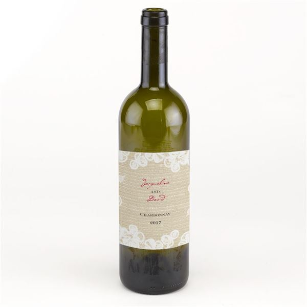 Burlap and Lace Wine Bottle Label