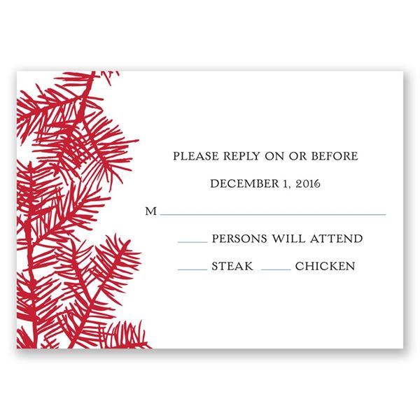 Snowy Pines Barn Red Response Card