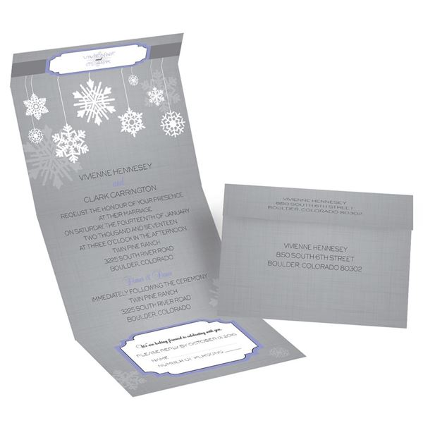 Snowflake Pendents Seal and Send Invitation