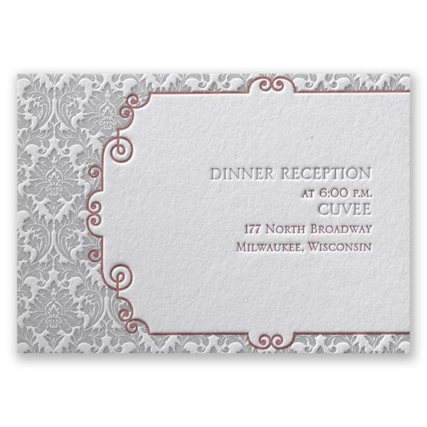 Beautifully Vintage Letterpress Reception Card