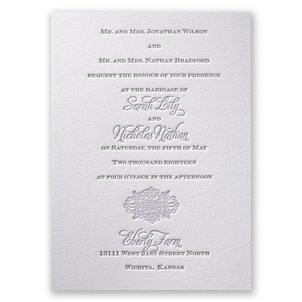 Timeless Elegance Letterpress Invitation