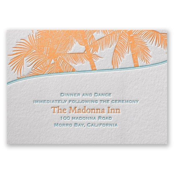 Tropical Escape Letterpress Reception Card