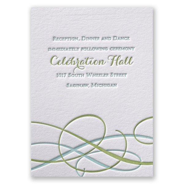 Sweet Swirls Letterpress Reception Card