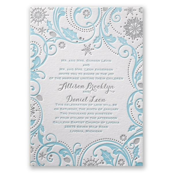 Winter Whimsy Letterpress Invitation