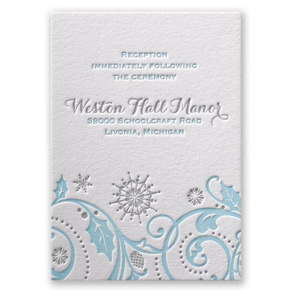 Winter Whimsy Letterpress Reception Card