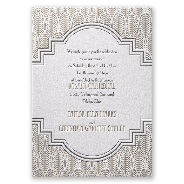 Art Deco Frame Letterpress Invitation