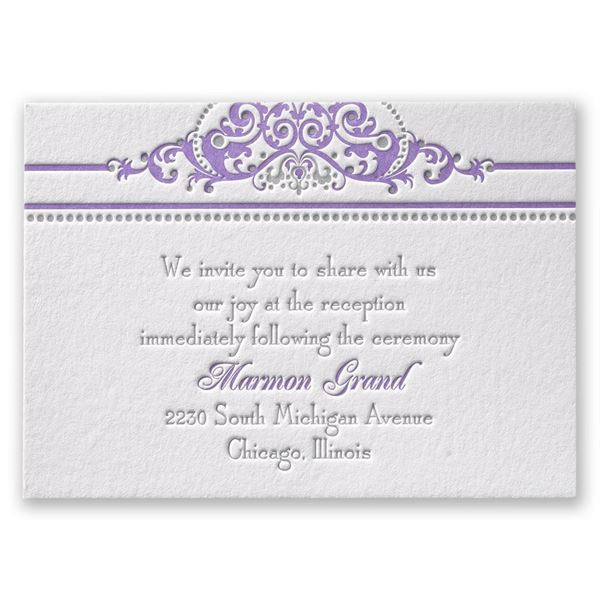 True Beauty Letterpress Reception Card