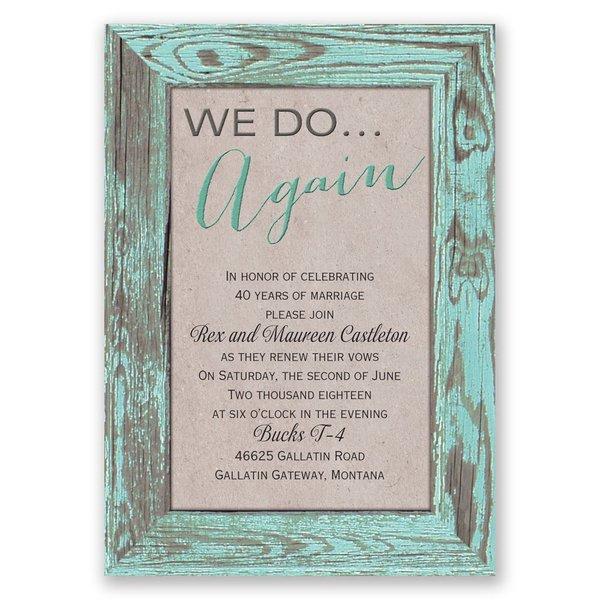 Tried and True - Aqua - Vow Renewal Invitation