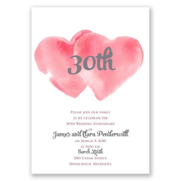 Two Hearts - Barn Red - Anniversary Invitation