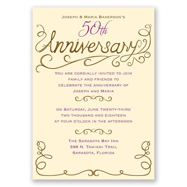 Charming Touches Anniversary Invitation