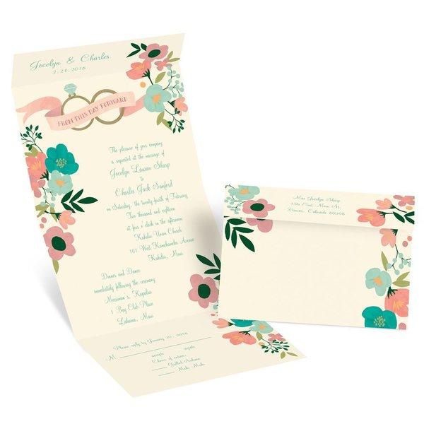 Retro Floral - Ecru - Seal and Send Invitation