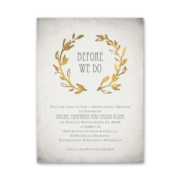 Leaves of Gold Petite Rehearsal Dinner Invitation