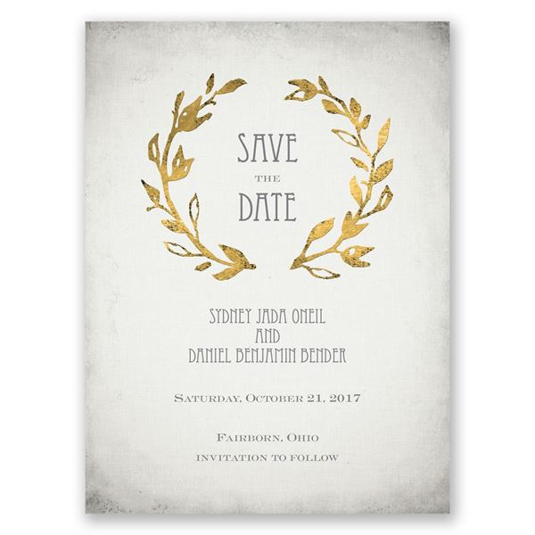 Leaves of Gold Save the Date Card