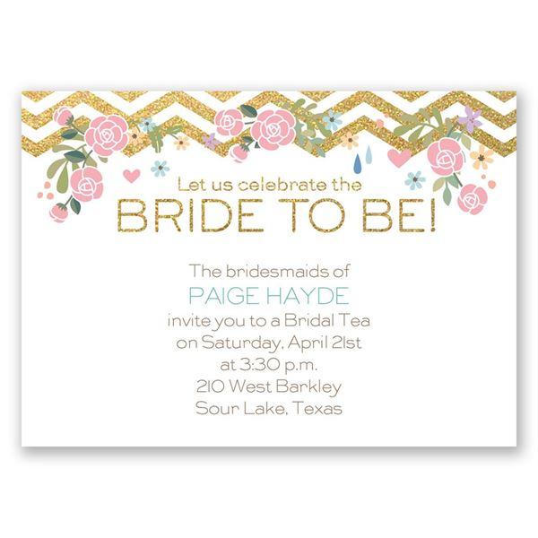 Chevron and Roses Faux Glitter Mini Bridal Shower Invitation