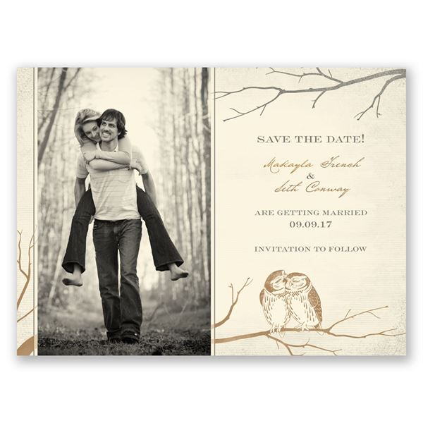 Owl Be Yours - Ecru - Save the Date Card