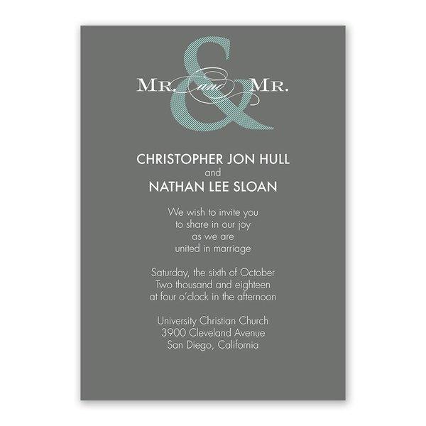 Contemporary Couple Mr. and Mr. Invitation