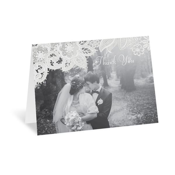 Wood and Lace Thank You Card