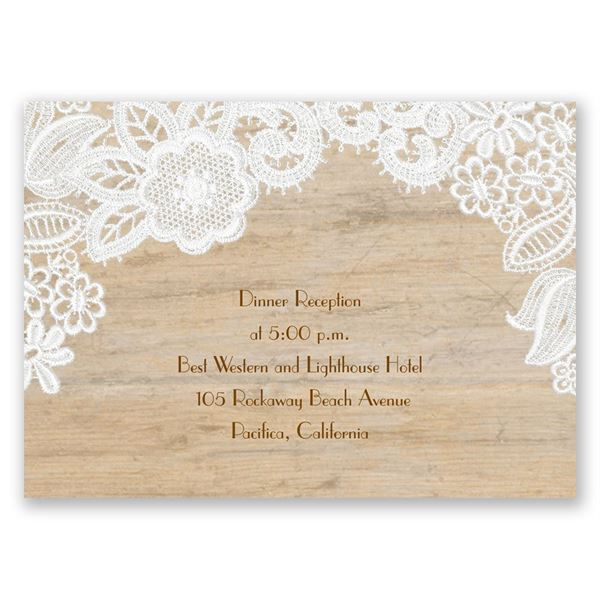 Wood and Lace Reception Card