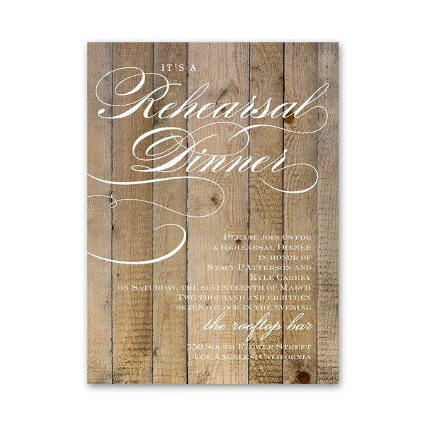 Wood Panels Petite Rehearsal Dinner Invitation