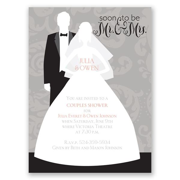 Modern Silhouettes Petite Wedding Shower Invitation