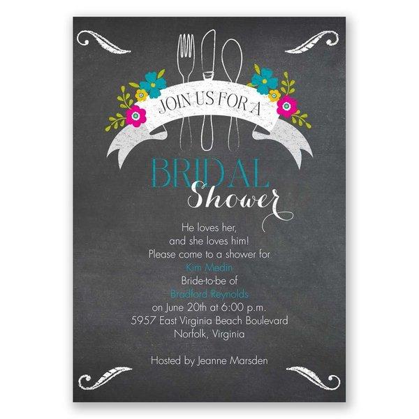 First We Eat Bridal Shower Invitation