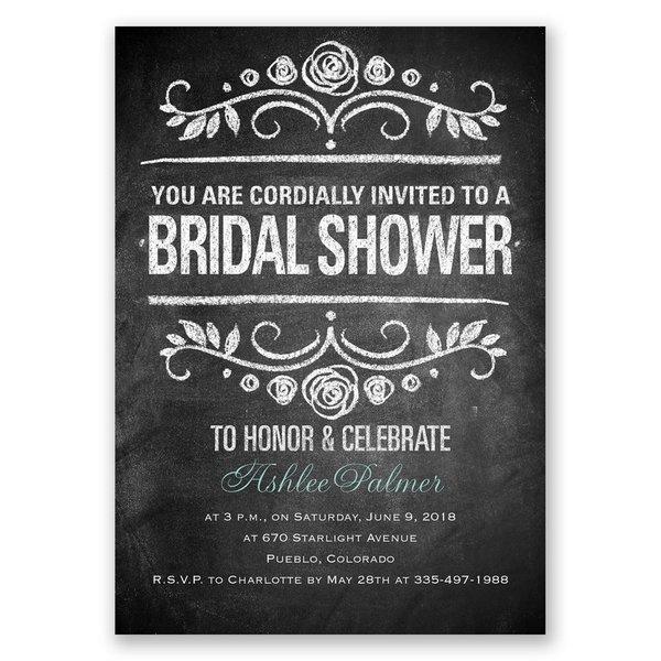 Chalkboard Art Bridal Shower Invitation
