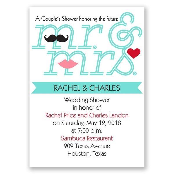 Quirky Couple Mini Wedding Shower Invitation