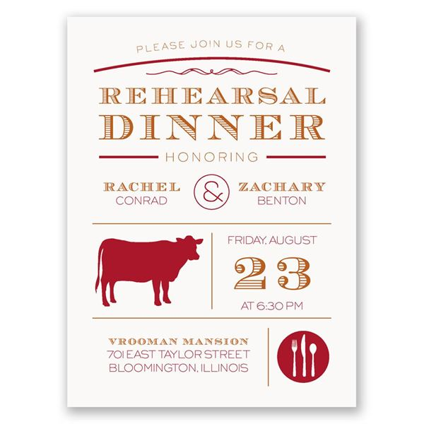 "Chef""s Choice Beef Petite Rehearsal Dinner Invitation"