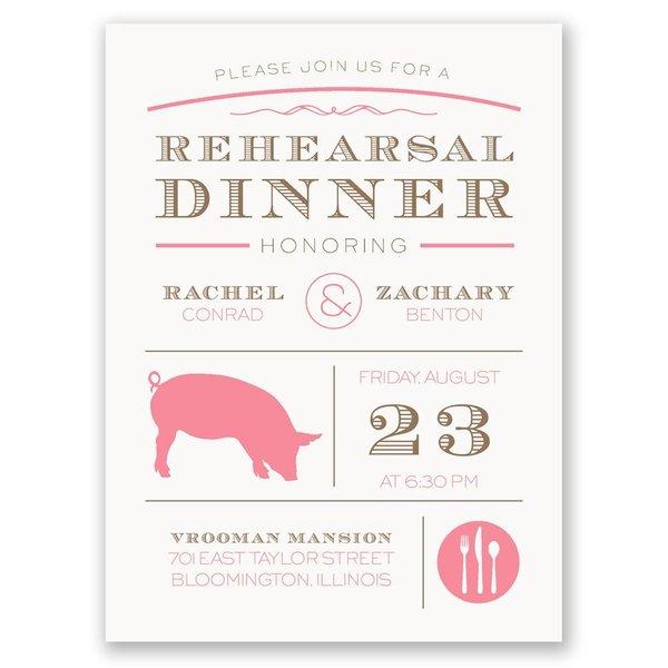 "Chef""s Choice Pork Petite Rehearsal Dinner Invitation"