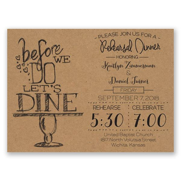 On Display Petite Rehearsal Dinner Invitation