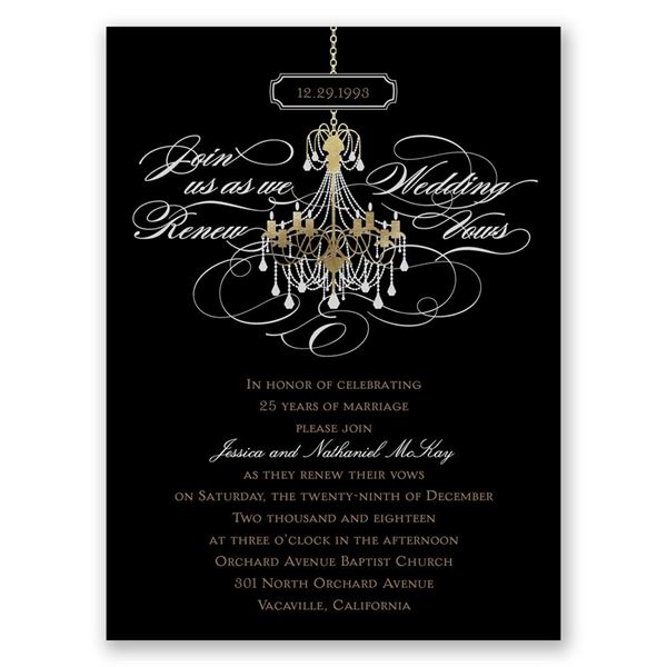 Chandelier Chic Petite Vow Renewal Invitation