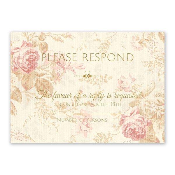 Antique Roses Foil Response Card