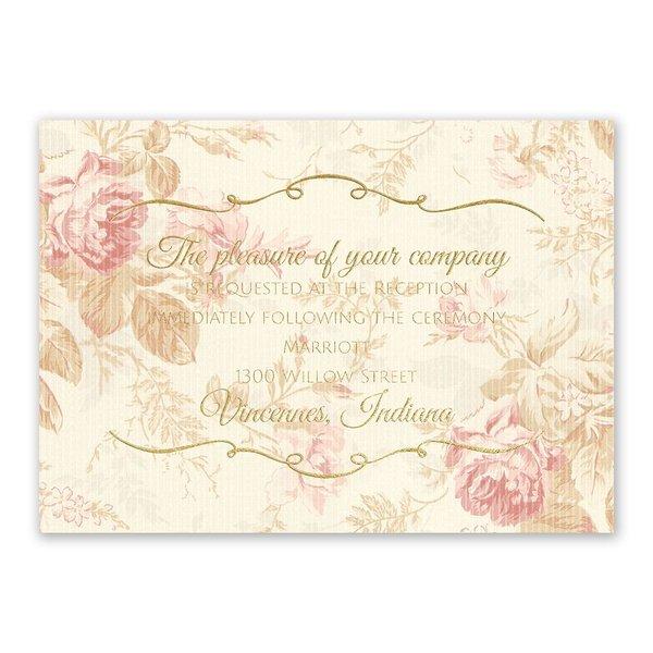 Antique Roses Foil Reception Card