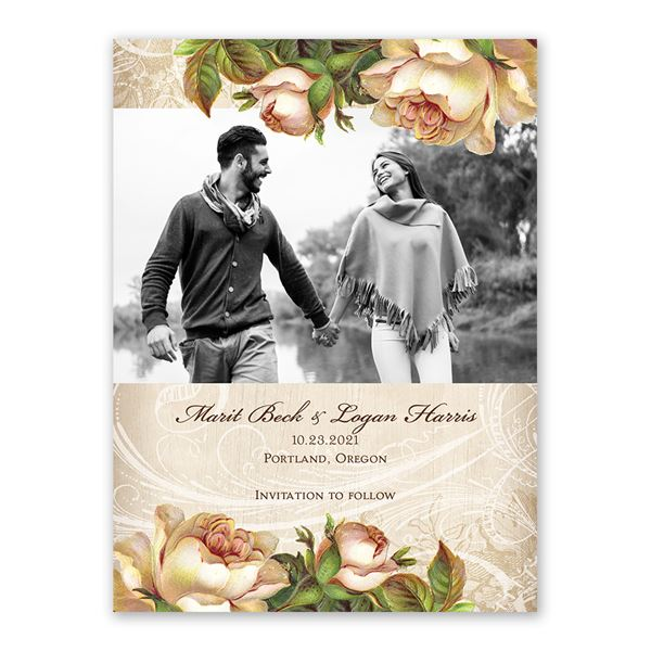 Boho Flowers Save the Date Card