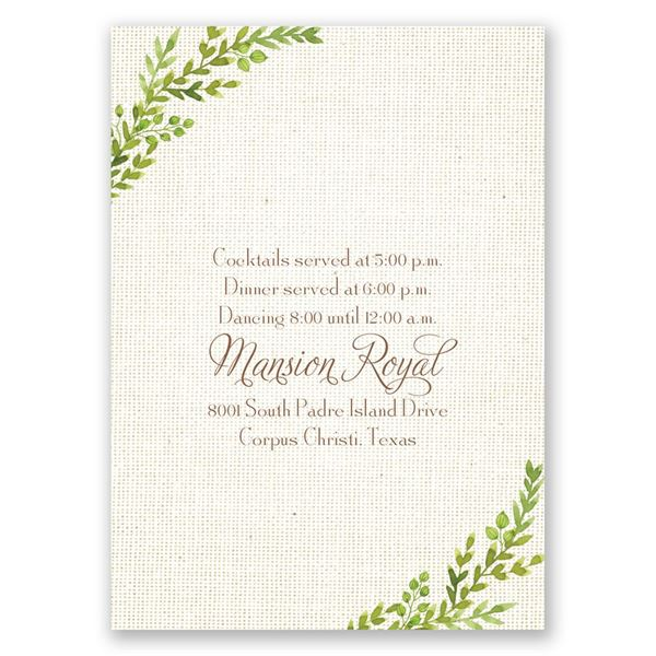 Burlap and Leaves Reception Card