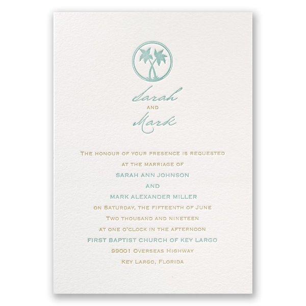 Tropical Chic Letterpress Invitation