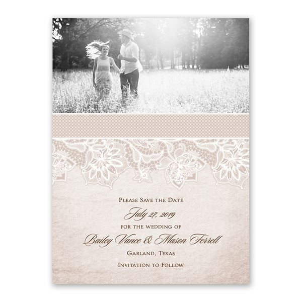Lace Lining Save the Date Card