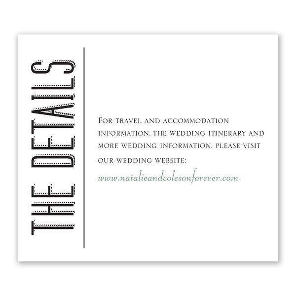 A Wedding Celebration Information Card