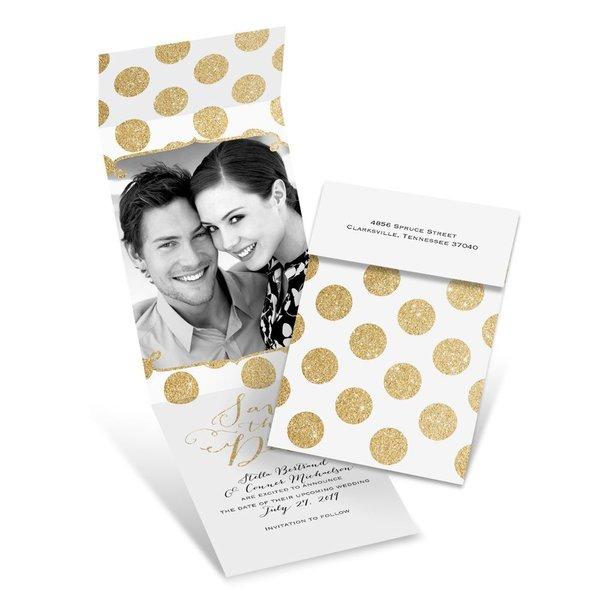 Polka Dot Glam Fold Up Save the Date