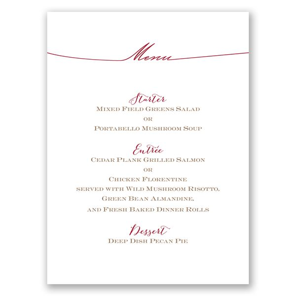 Simply Inviting Menu Card