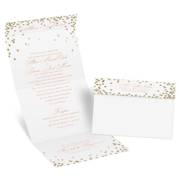 Gold Polka Dots Seal and Send Invitation