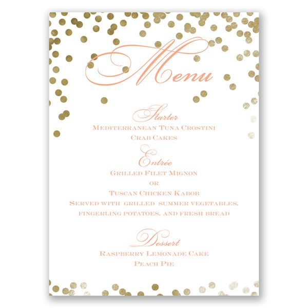 Gold Polka Dots Menu Card