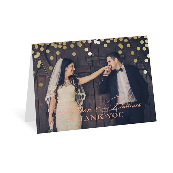Gold Polka Dots Thank You Card