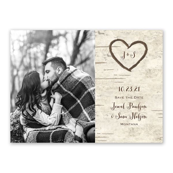 Birch Tree Carvings Save the Date Card
