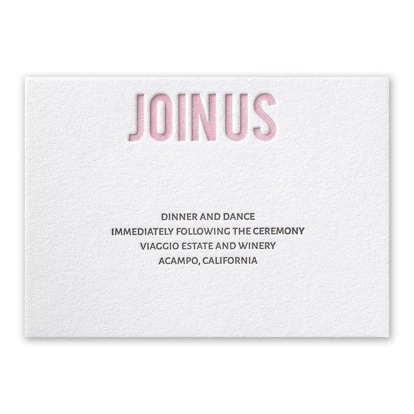 Sweet Simplicity Letterpress Reception Card