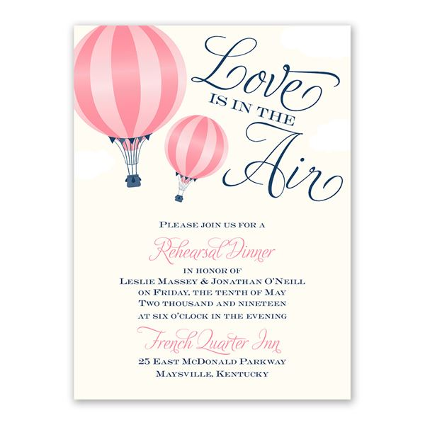 Love Is in the Air Petite Rehearsal Dinner Invitation