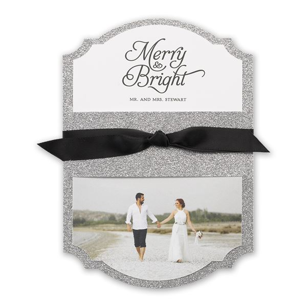Silver Sparkle Real Glitter Holiday Card