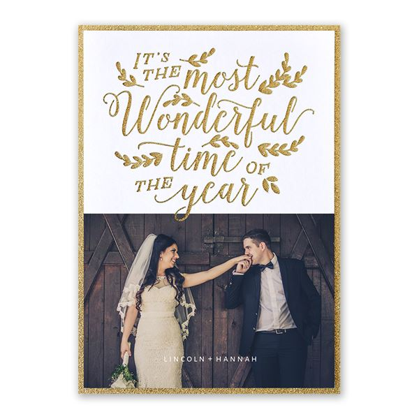 Most Wonderful Time Real Glitter and Laser Cut Holiday Card